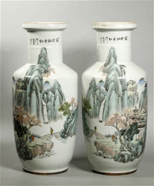 Pr Lg Chinese Enameled Porcelain Landscape Vases