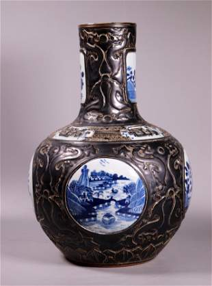 Chinese 19 C Blue & White & Black Porcelain Vase
