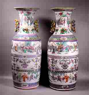 Pr Large Chinese Enameled Porcelain Vases