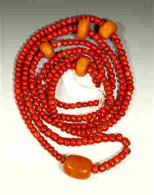 Tibetan Coral & Butterscotch Amber Beads; 110.9G