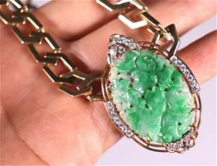Chinese Natural Green Jadeite & 14K Necklace; 84G