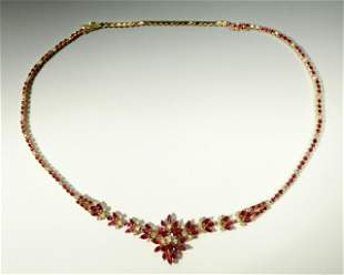 Adjustable Ruby & Diamond 14K Necklace