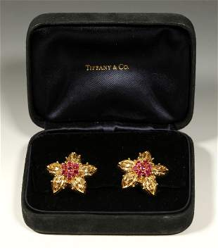 Vintage Tiffany & Co Ruby 18K Flower Earrings; Box