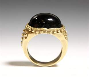 Fine Green Tourmaline Cabochon in 18K Gold Ring