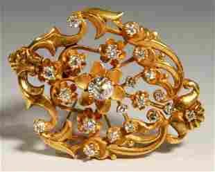 French or English Diamond & 14K Gold Pendant Pin
