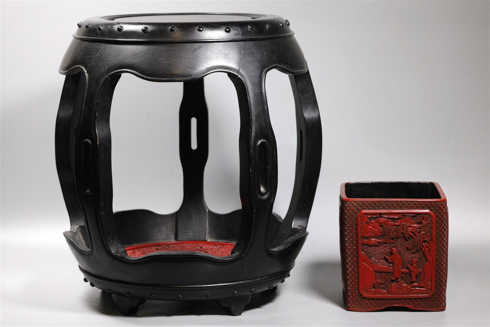 Chinese Hard Wood Barrel Stool; 2 Red Compo Items