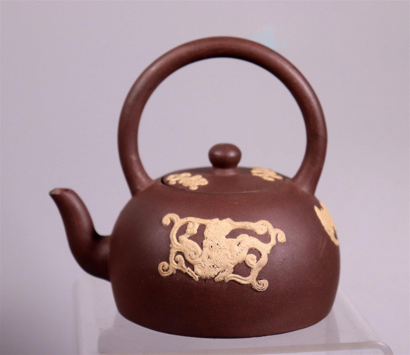Chinese 19 C Yixing Teapot Light Clay Designs