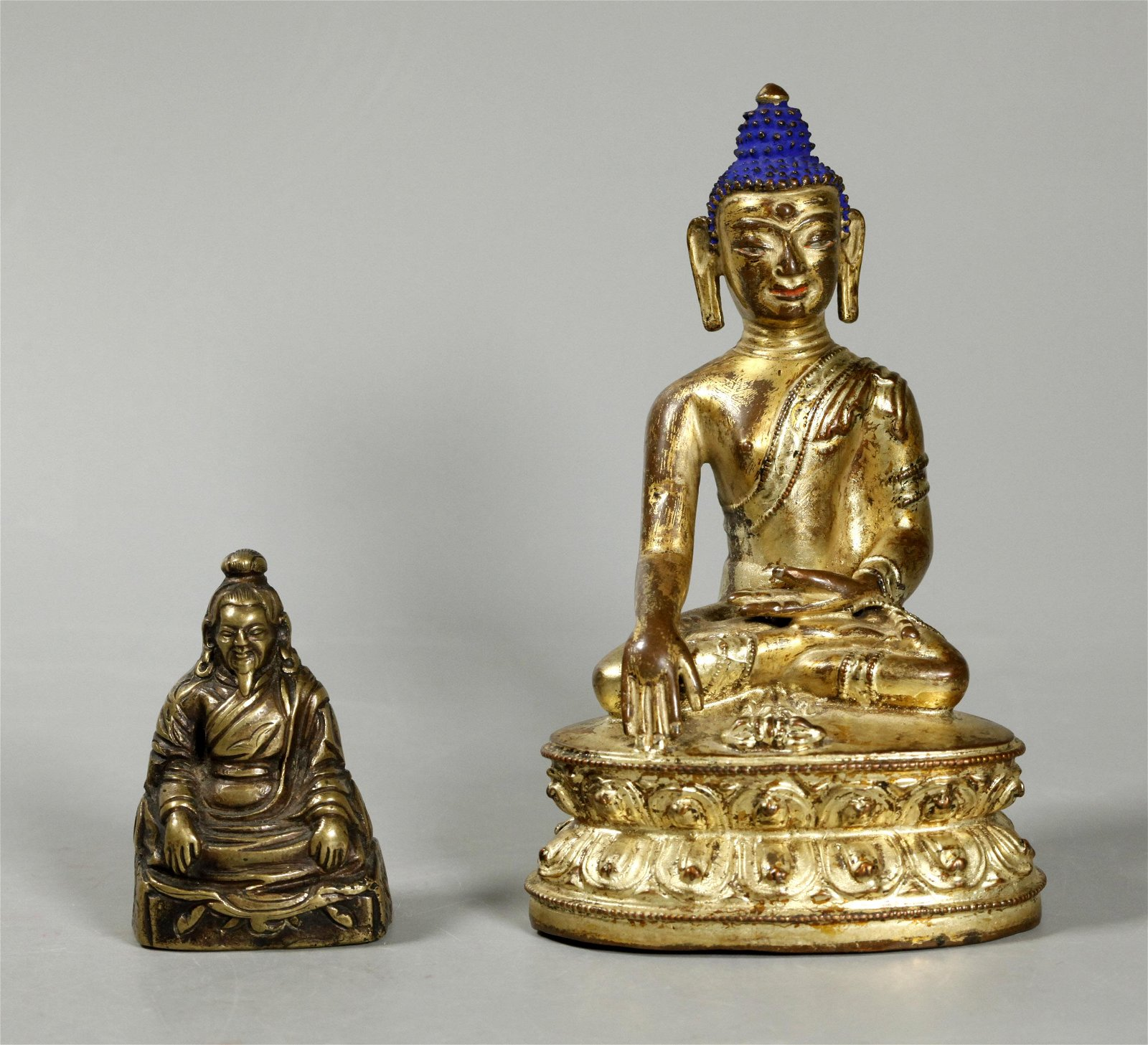 Tibetan 19 C Gilt Bronze Buddha; Sm Bronze Lama