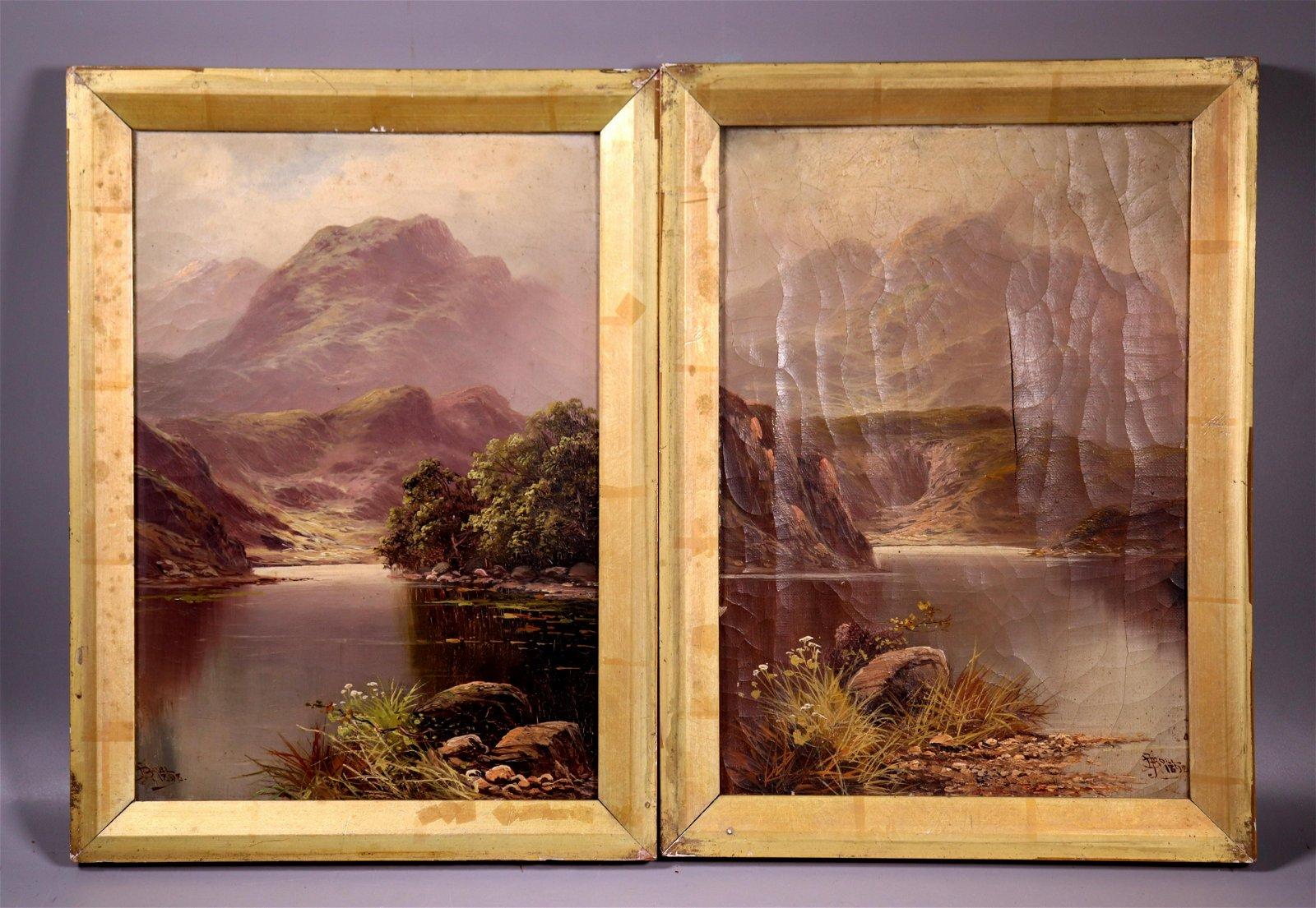 2 John H Boel: Scottish Highland Oil Canvas 1898