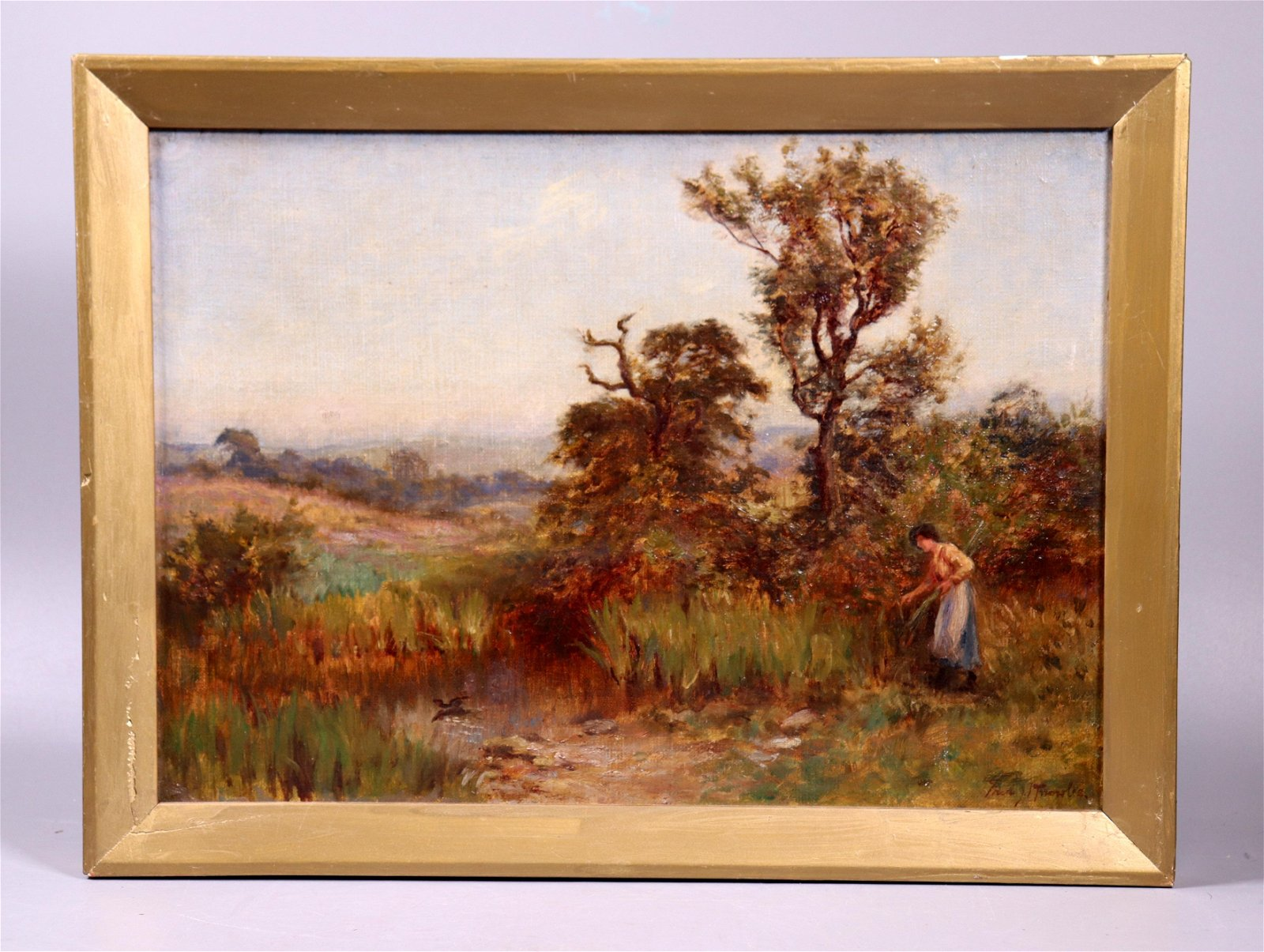 Oil Canvas 19 C Painting Woman Gathering Grasses