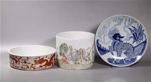 3 Chinese Porcelains, Brush Pot Planter Plate