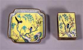 2 Chinese Canton Enamel on Bronze Plate Match Box