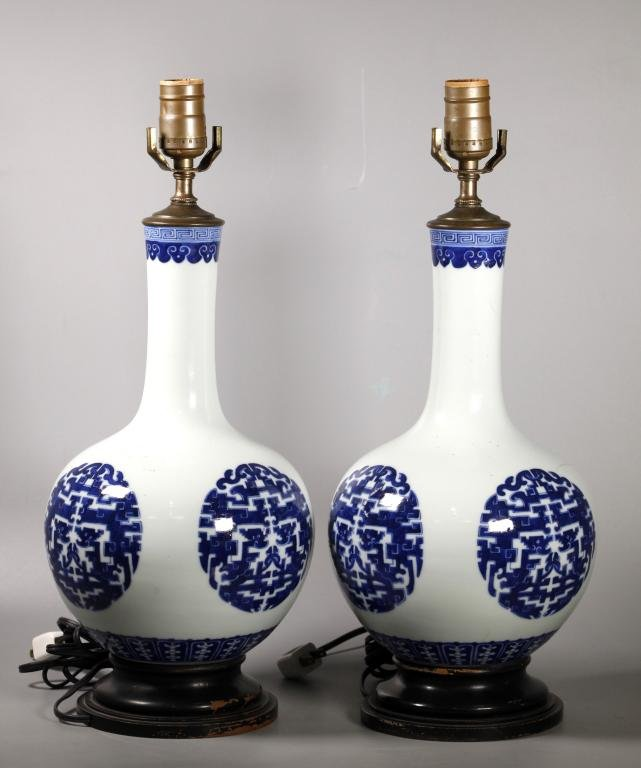Pair Chinese Blue & White Dragon Porcelain Vases