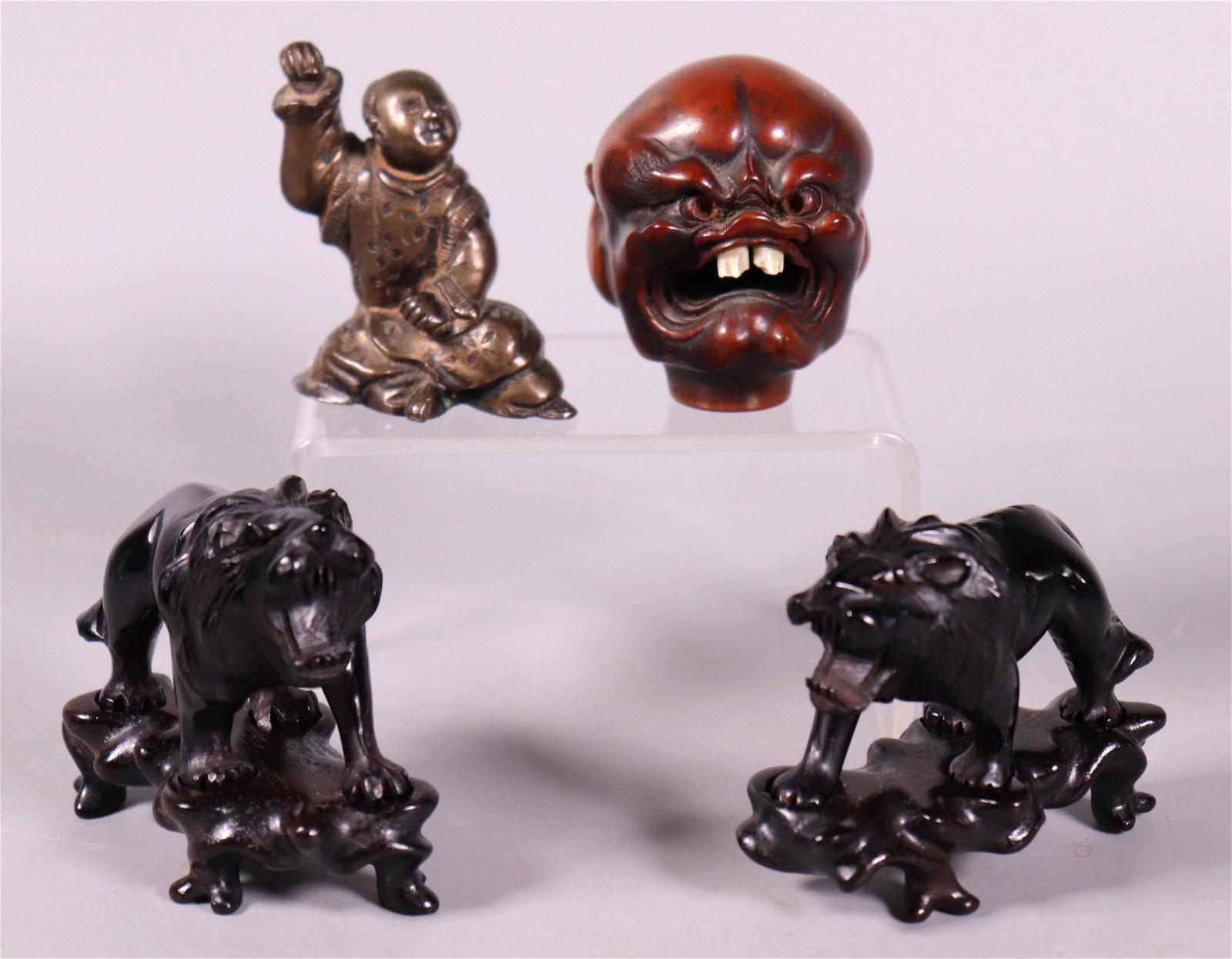 Pr Chinese Cherry Amber Lions; 1 Bronze 1 Wood