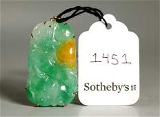 Sotheby's; Chinese 3-Color Jadeite in 18K Pendant