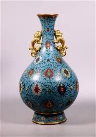 Chinese Qing Cloisonne & Gilt Bronze Yuhuchun Vase
