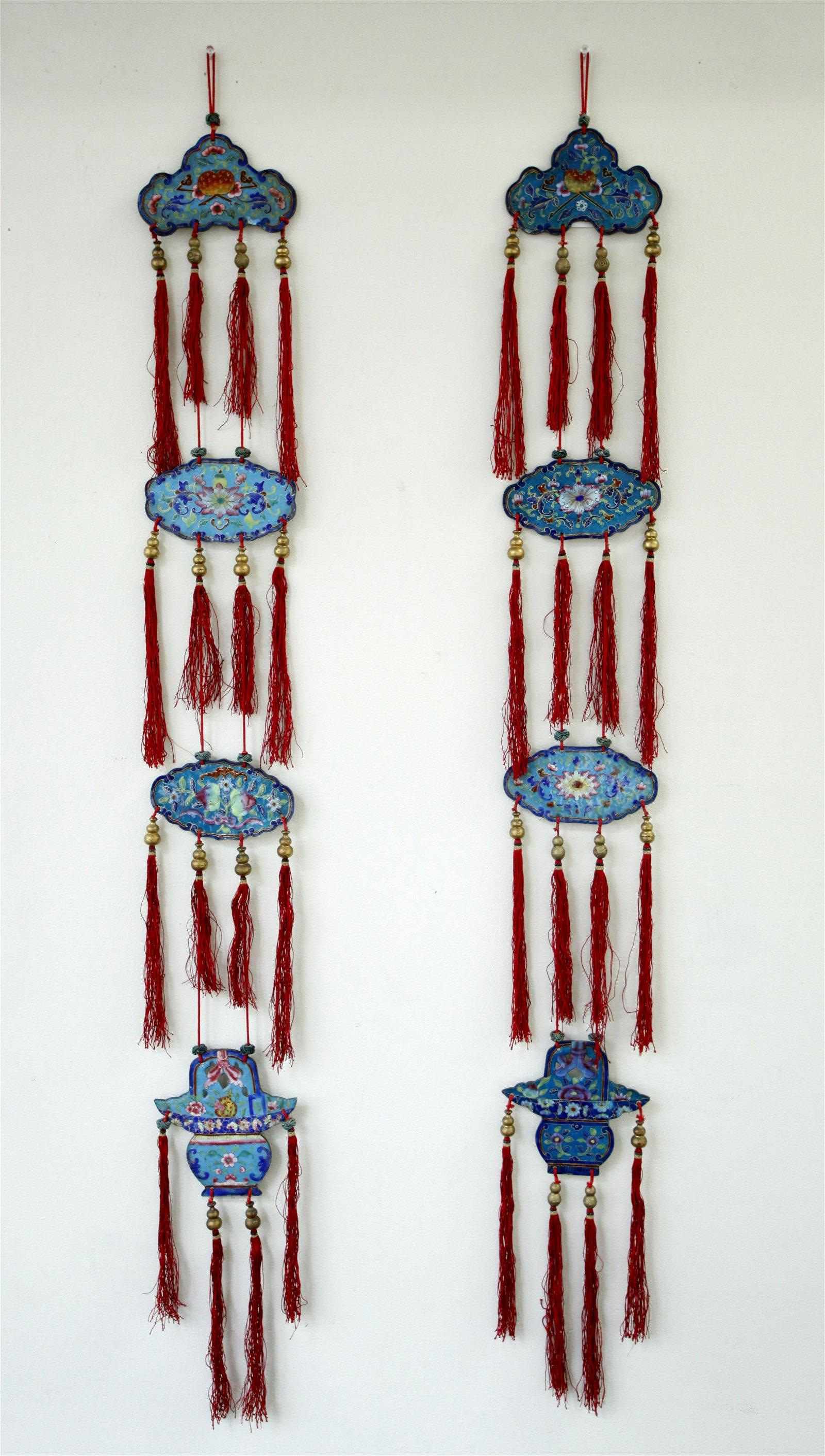 Pr Chinese Early 19C Canton Enamel & Silk Pendants