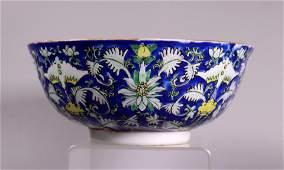 Chinese 19 C Blue  White Enameled Porcelain Bowl