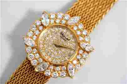 Vintage Chopard Pave Diamond 18K Gold Lady