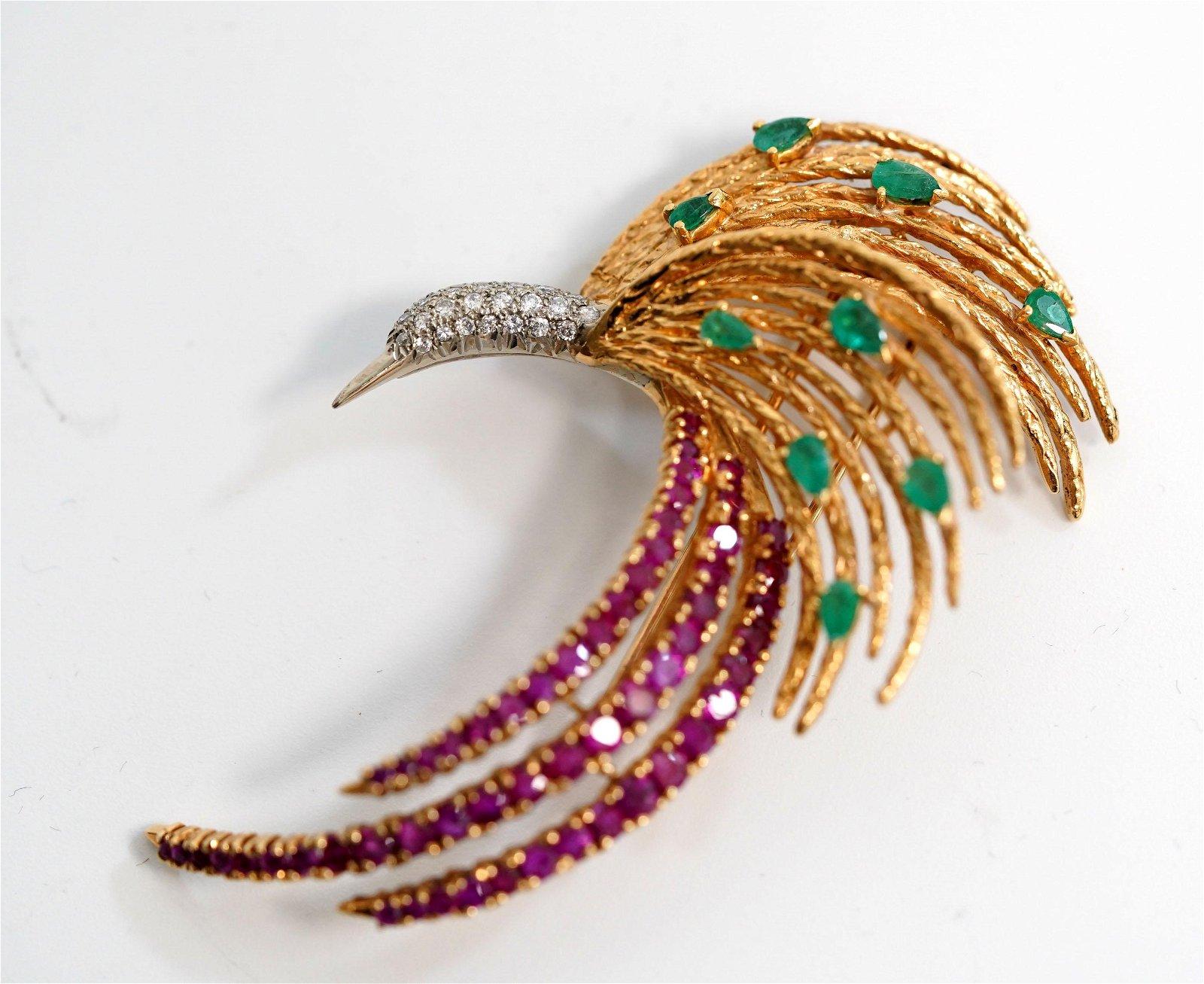 Modernist Bird of Paradise Gem & Diamond 18K Pin