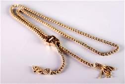 Victorian 14K Gold Tassel Rope Slide Necklace
