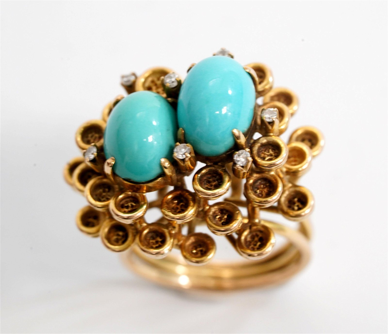 Vintage Designer Turquoise & Diamond 14K Ring