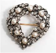 18/19 C Old Mine Diamond & Pearl Heart Pendant Pin