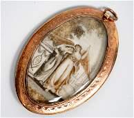 English Georgian 14K Oval Memento Painting Pendant
