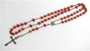 Antique European Red Coral Rosary Beads Necklace