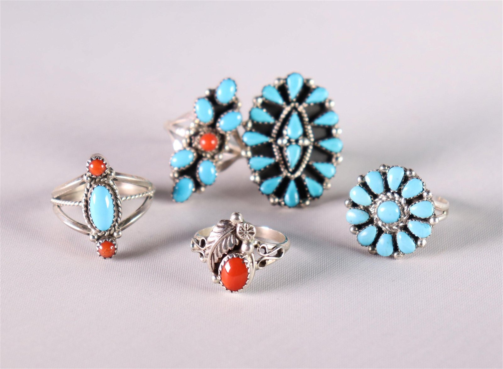 5 Native American Turquoise & Coral Silver Rings