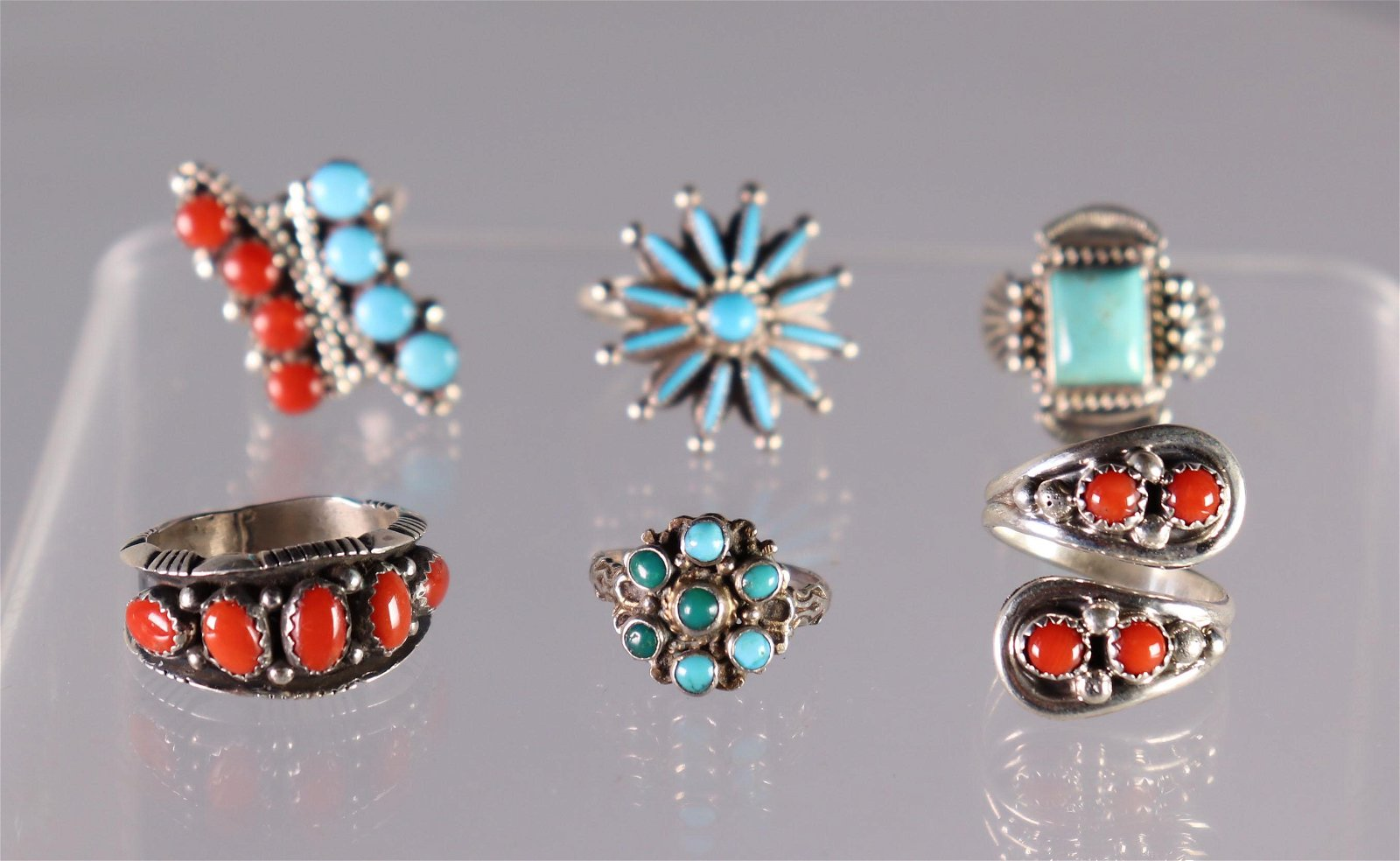 6 Native American Coral Turquoise & Silver Rings