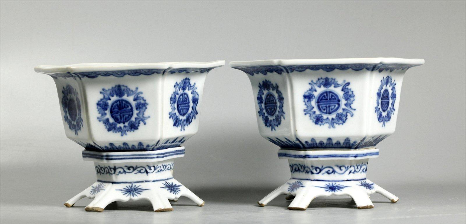 Pr Chinese Sm Qing Blue & White Porcelain Planters