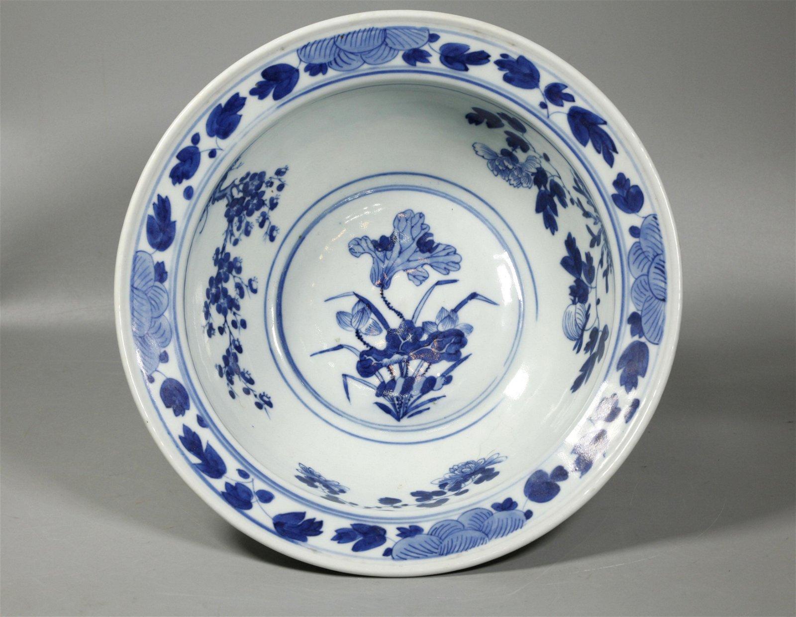 Chinese Qing Blue & White Porcelain Bowl