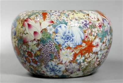 Large Chinese Qing Mille Fleur Porcelain Bowl