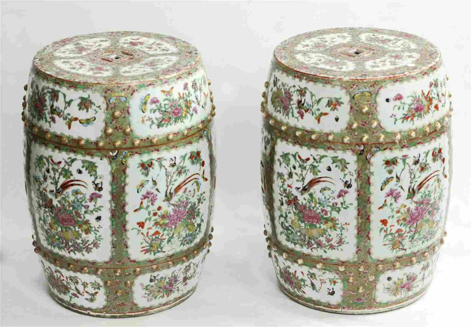 Pr Chinese 19 C Medallion Porcelain Garden Seats