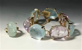 Tourmaline Aquamarine Link Bracelet 14K  1 Ring