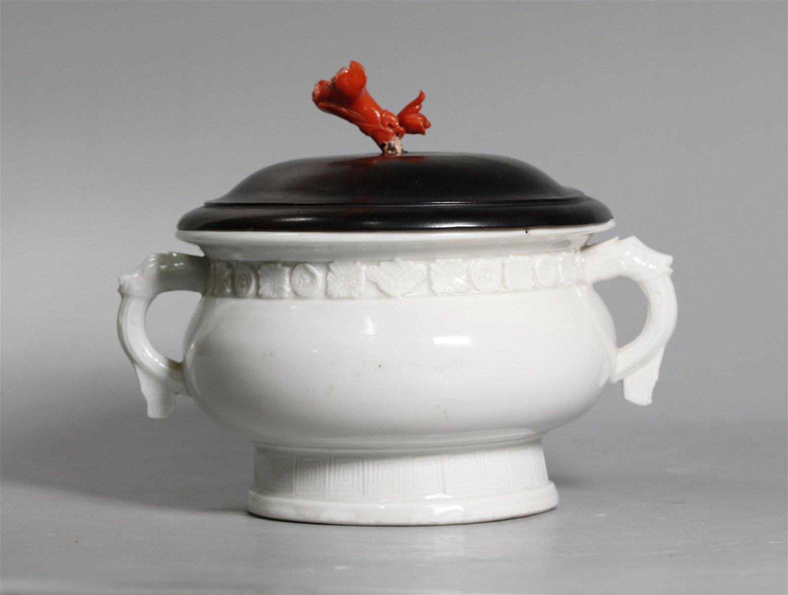 Rare Chinese 17 C Blanc de Chine Porcelain Censer