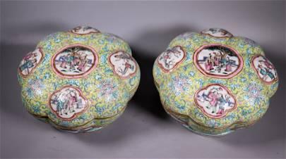 2 Lg Chinese 19 C 8-Lobed Porcelain Round Boxes