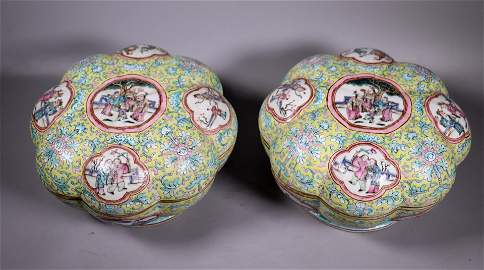 2 Lg Chinese 19 C 8-Lobed Porcelain Round Boxes