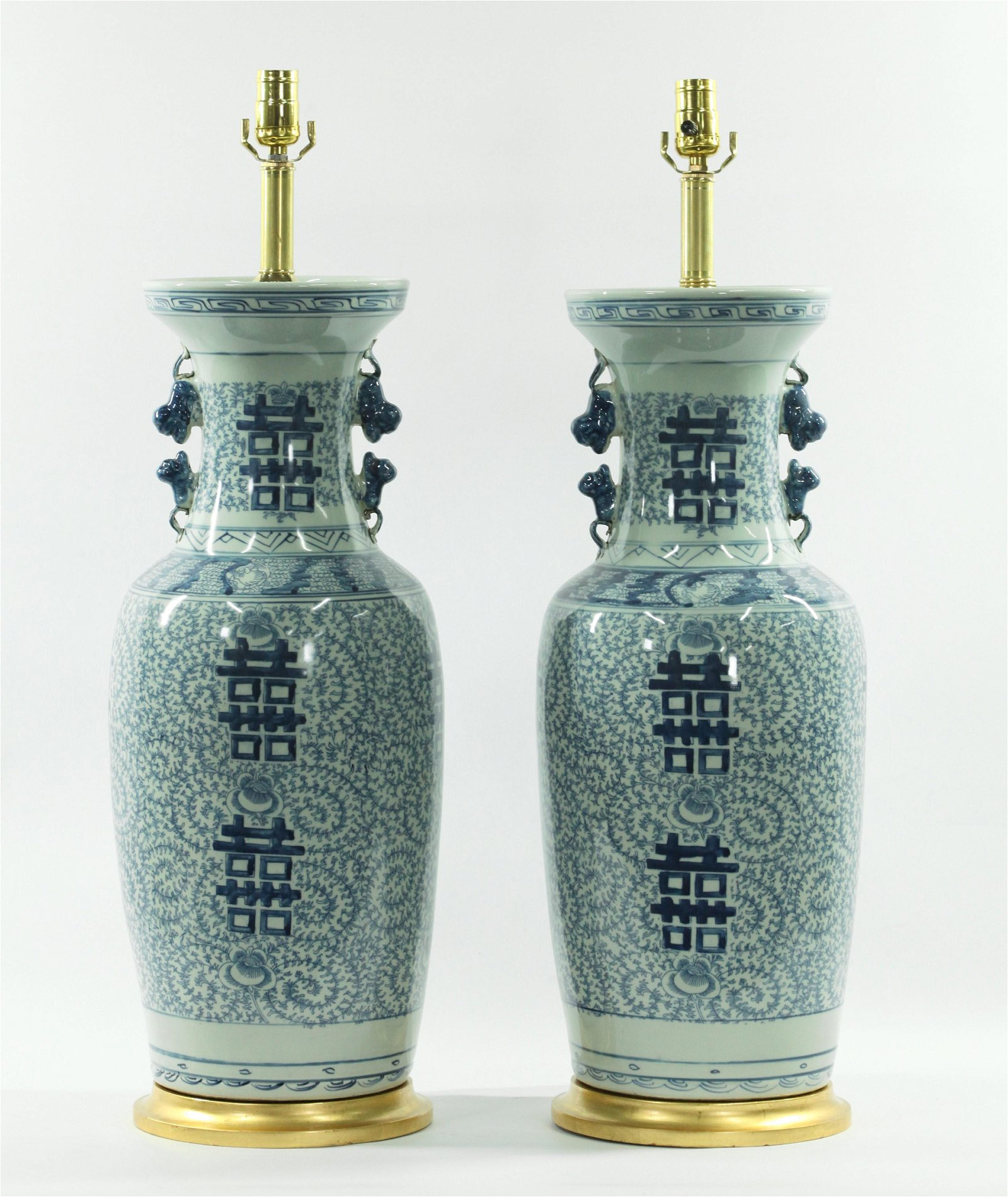 Pr Chinese Blue & White Porcelain Vase Lamps