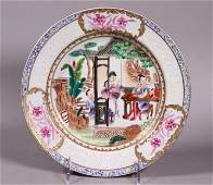 Chinese Ruby Back Famille Rose Porcelain Plate