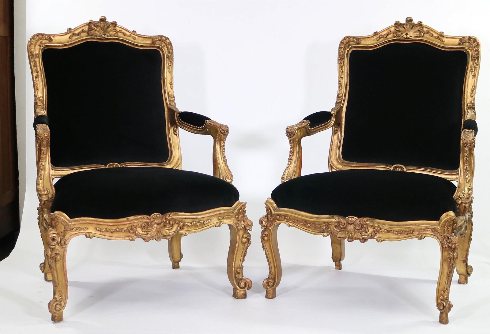 Pair 19 C French Carved Giltwood Fauteuils