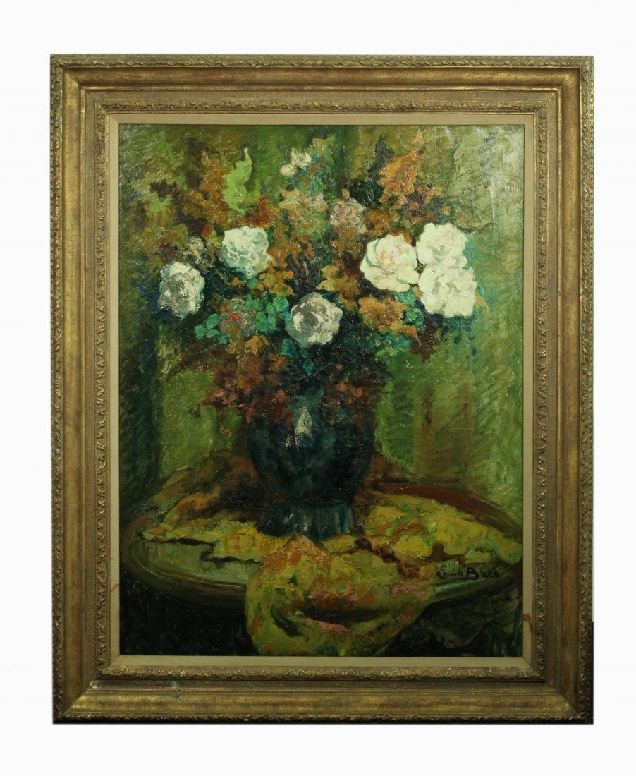 Emile Baes; Large Floral Still Life Oil on Canvas