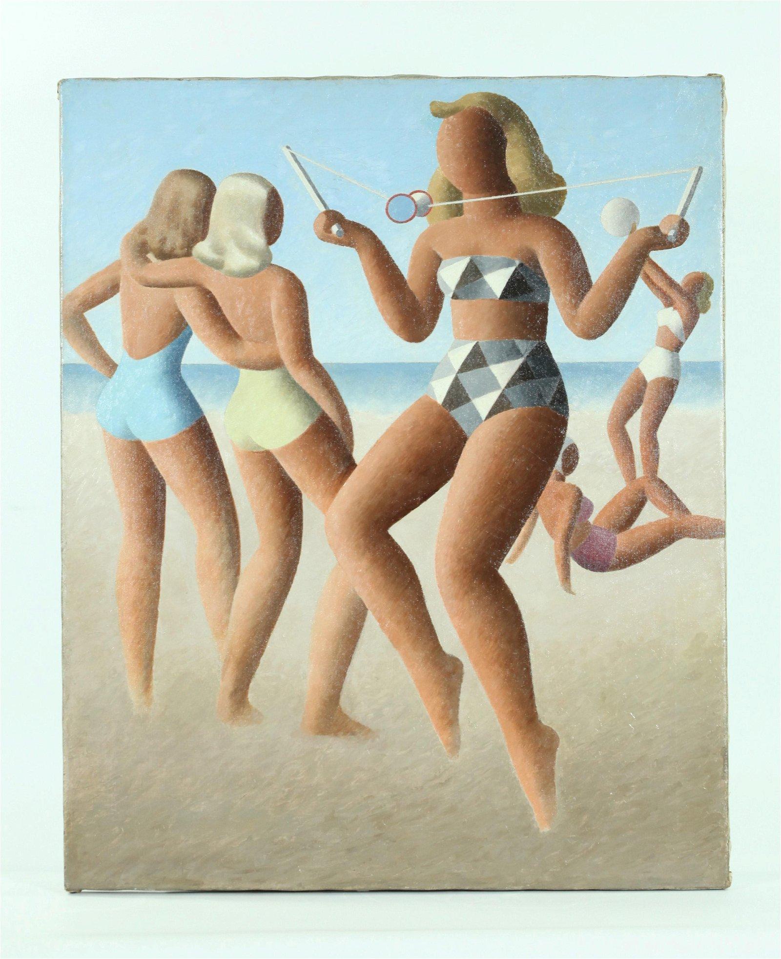 Surrealist Ladies in Bathing Suits; Oil canvas