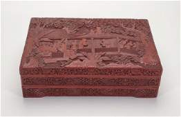 Chinese 19 C 3 Tier Cinnabar Lacquer Box