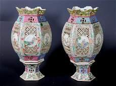 Pr Chinese Qing Famille Rose Porcelain Lanterns