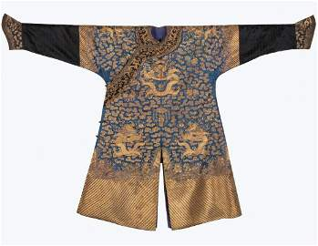 Chinese Qing Imperial Gold Dragon Robe