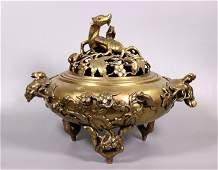 Large Chinese Qing Cast Bronze Incense Burner