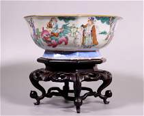 Chinese 19 C Famille Rose Porcelain 8 Figure Bowl