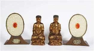 Pr Chinese Gilt Wood Buddhas; Pr Plaques